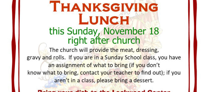 All Church Thanksgiving Meal – This Sunday